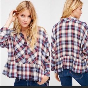 Free People plaid cropped flannel